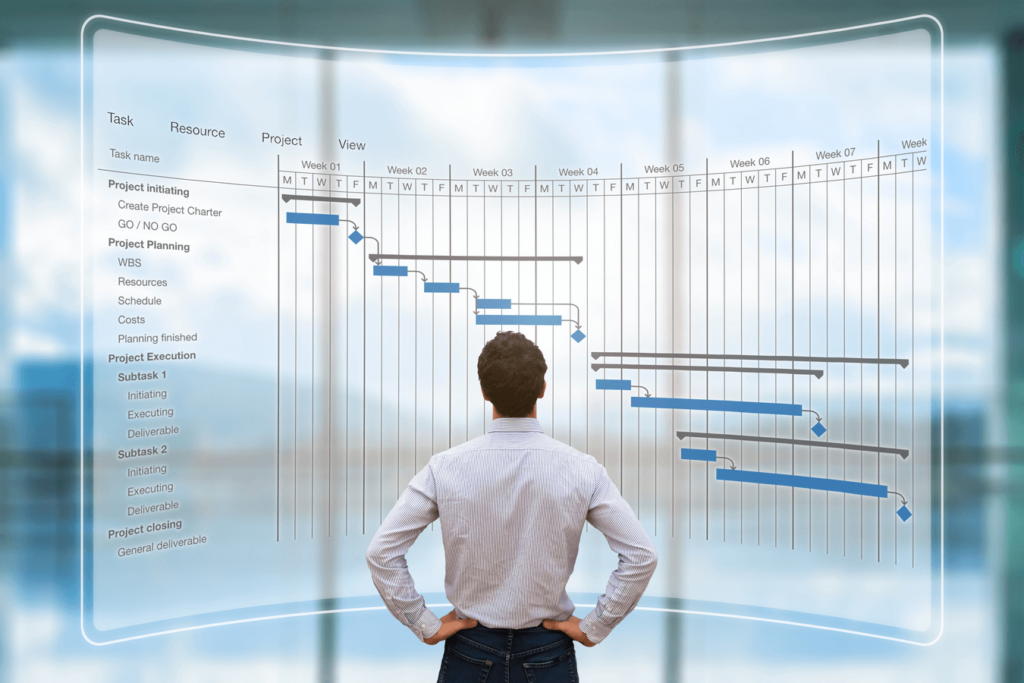 A man in front of a big transparent planning bar chart that shows information about production schedule of a purchase order. He is checking in detail this planning to know the actual order status as Nexua Excellnce quality explain in this article called What is expediting for?.
